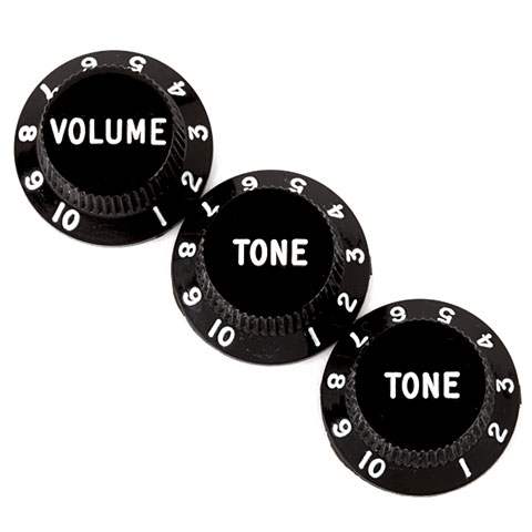 Bouton potentiomètre Fender Stratocaster Knobs 1xVol/2xTone BK