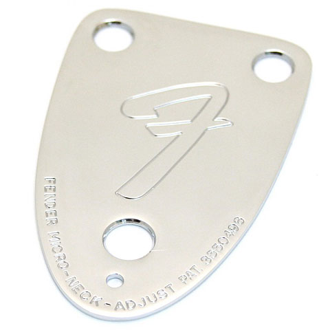 "Neck Plate Fender '70s Vintage-Style 3-Bolt ""F"" Stamped Guitar Neck Plate, Chrome"