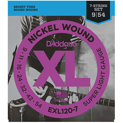 Corde guitare électrique D'Addario EXL120-7 Nickel Wound .009-054