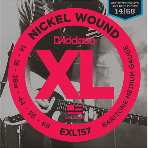 Corde guitare électrique D'Addario EXL157 Nickel Wound .014-068 Baritone