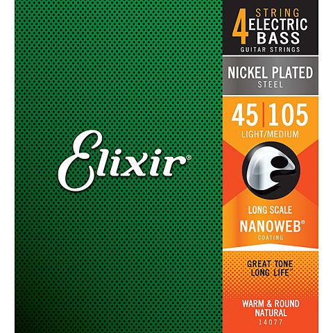 Cuerdas bajo eléctrico Elixir Nanoweb Medium .045-105