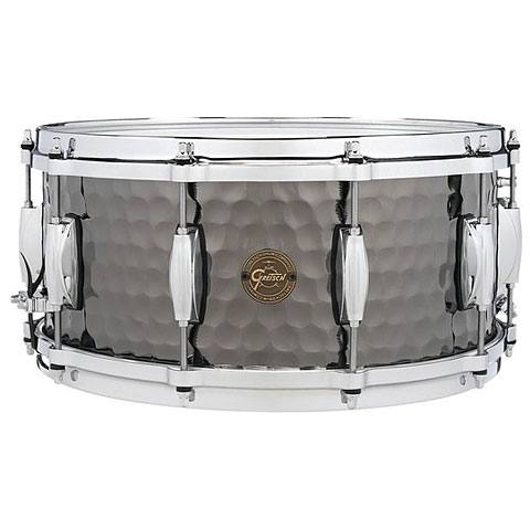 "Snare Drum Gretsch Drums Full Range 14"" x 6,5"" Hammered Black Steel Snare"