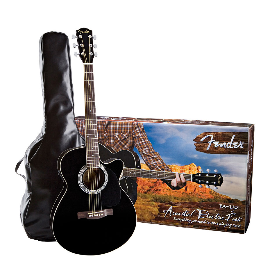 nw fender package acoustic electric guitar thin body black amp dvd great present ebay. Black Bedroom Furniture Sets. Home Design Ideas