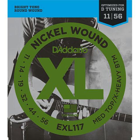 Cuerdas guitarra eléctr. D'Addario EXL117 Nickel Wound .011-056