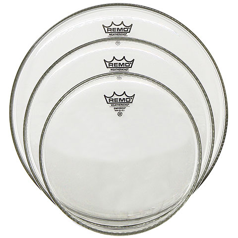 "Juego de parches Remo Emperor Clear 10""/12""/14"" Drum Head Pack"