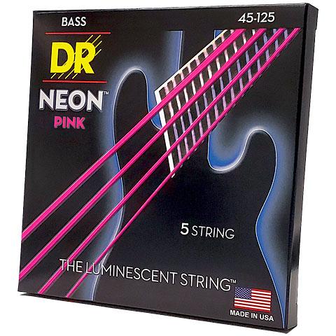 DR Neon Pink Medium 5 Electric Bass Strings #1: dr neon pink medium 5