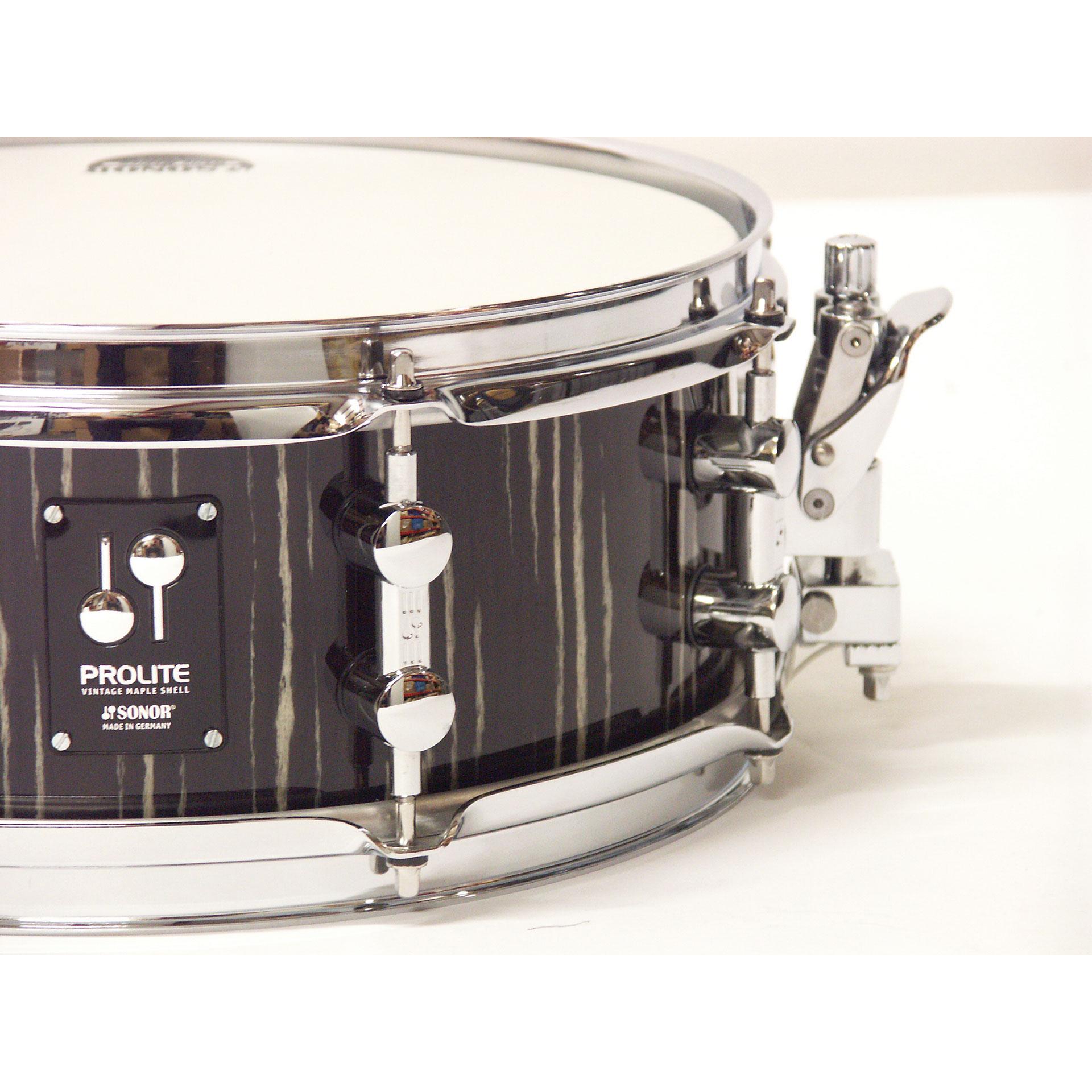 Sonor Prolite Pl 1205 Sdw Ebony White Stripes 171 Snare Drum