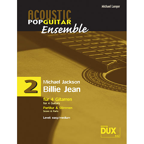 Recueil de Partitions Dux Acoustic Pop Guitar Ensemble 2 - Billie Jean