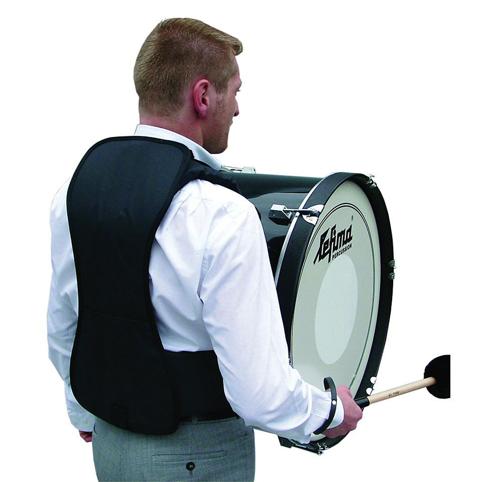 how to wear a marching bass drum harness