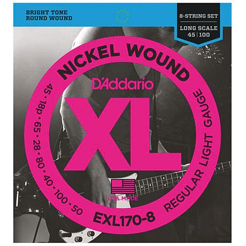 Cuerdas bajo eléctrico D'Addario EXL170-8 Nickel Wound .045-100