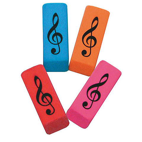 Kadoartiekelen AIM Gifts Wedge Eraser Treble Clef - Assorted Colours