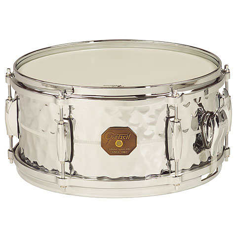 Snare Gretsch Drums G-4000 G-4168-HB Hammered Chrome over Brass