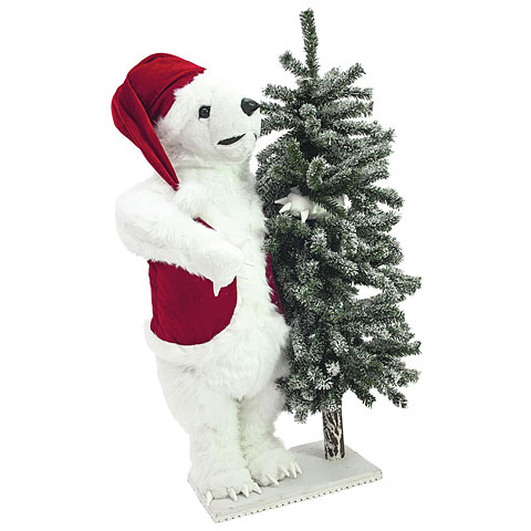 Europalms Polar bear, with snowy fir, 105 cm