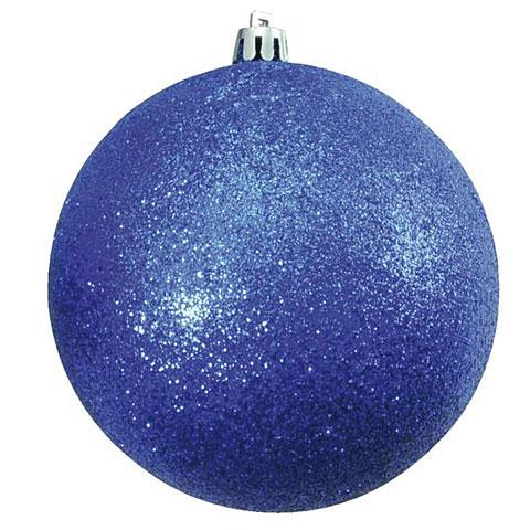 Europalms Deco Ball 10cm, blue, glitter 4x