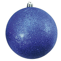 Europalms Deco Ball 10cm, blue, glitter 4x « Decoration