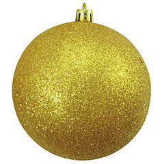 Europalms Deco Ball 10 cm, gold, glitter 4x « Décoration