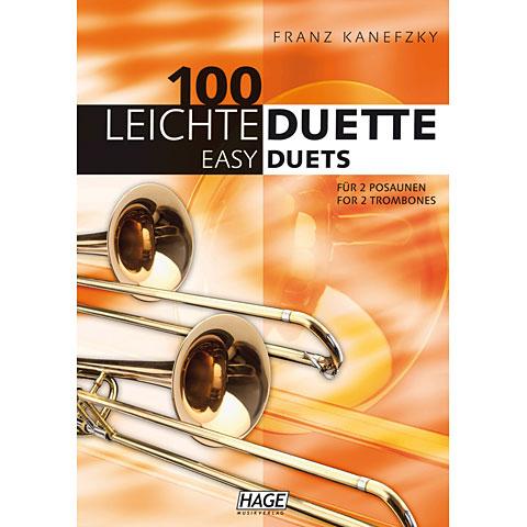 Recueil de Partitions Hage 100 Leichte Duette für 2 Posaunen