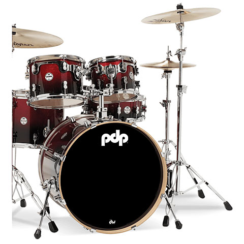 "Schlagzeug pdp Concept Maple CM5 22"" Red to Black Sparkle Fade"