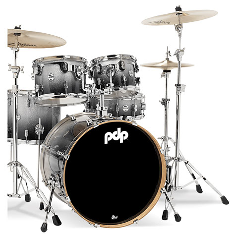 "Schlagzeug pdp Concept Maple CM5 20"" Silver to Black Sparkle Fade"