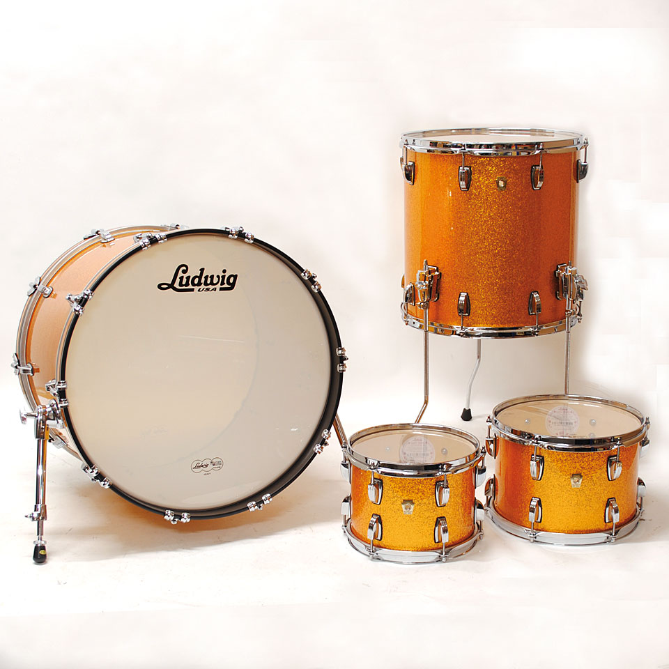 Ludwig classic maple 22 gold sparkle drum kit for Classic house drums