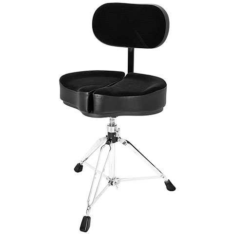 Sillín de batería AHead Black Spinal-G Drum Throne with Back Rest