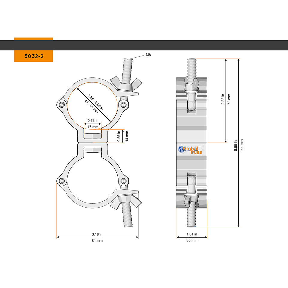 GLOBAL TRUSS Swivel Coupler 48-51//50//500kg