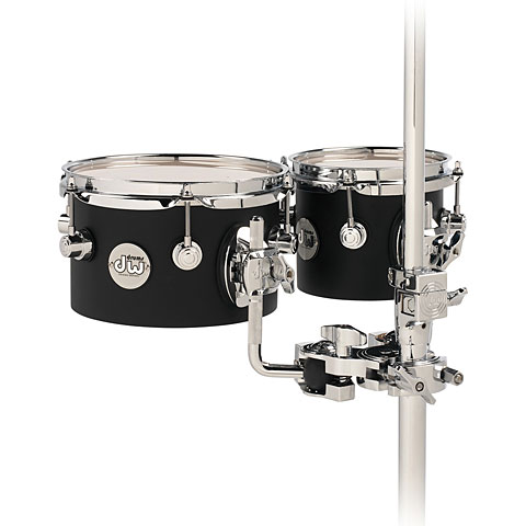 "Tom DW Design  8"" x 5"" & 10"" x 5"" Concert Tom Set Black Satin with Mount"
