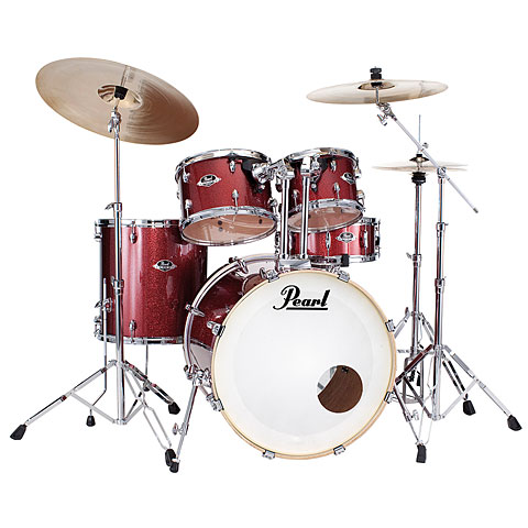Pearl Export 22  Black Cherry Glitter Complete Drumset