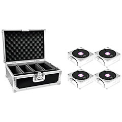 Eurolite Set 4x AKKU Flat Light 1 silver + Case « Accuindicatie