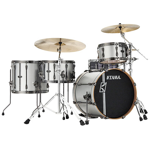 Tama Superstar Custom 20  Satin Silver Vertical Stripe LTD