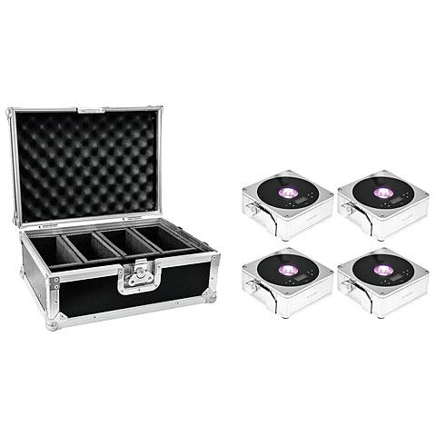 Eurolite Set 4x AKKU Flat Light 1 chrome + Case