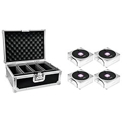 Eurolite Set 4x AKKU Flat Light 1 chrome + Case « Accuindicatie