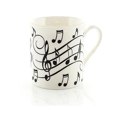 Tazas Little Snoring Music Notes Mug - Black On White