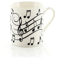 Little Snoring Music Notes Mug - Black On White « Tazas