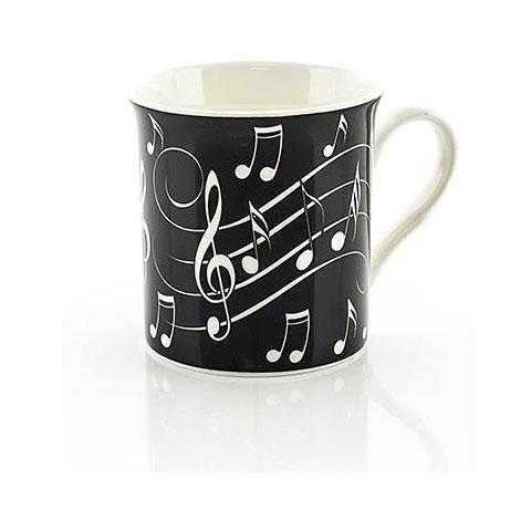 Tazas Little Snoring Music Notes Mug - White On Black