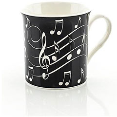 Little Snoring Music Notes Mug - White On Black « Coffee Cup