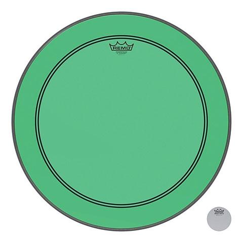 "Remo Colortone Powerstroke 3 Clear 20"" Green Bass Drum Head"