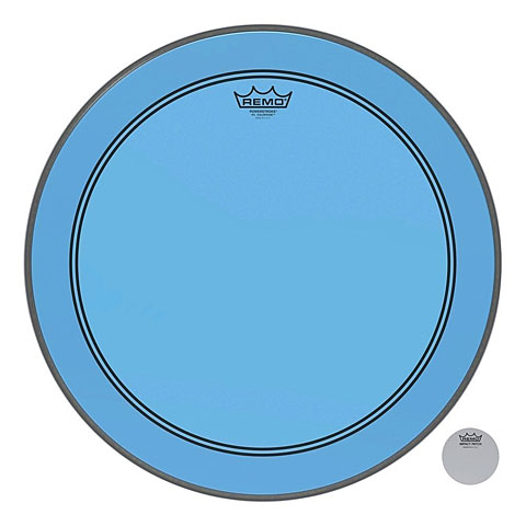 "Remo Colortone Powerstroke 3 Clear 20"" Blue Bass Drum Head"
