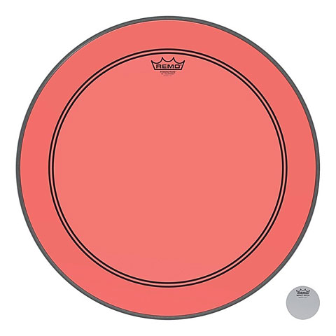 "Remo Colortone Powerstroke 3 Clear 22"" Red Bass Drum Head"