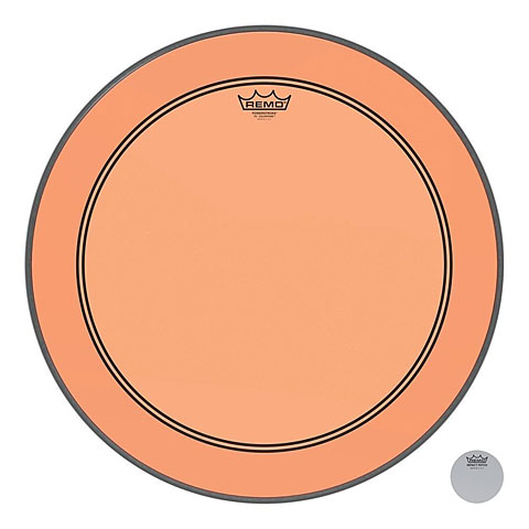 "Bass-Drum-Fell Remo Colortone Powerstroke 3 clear 22"" Orange Bass Drum Head"