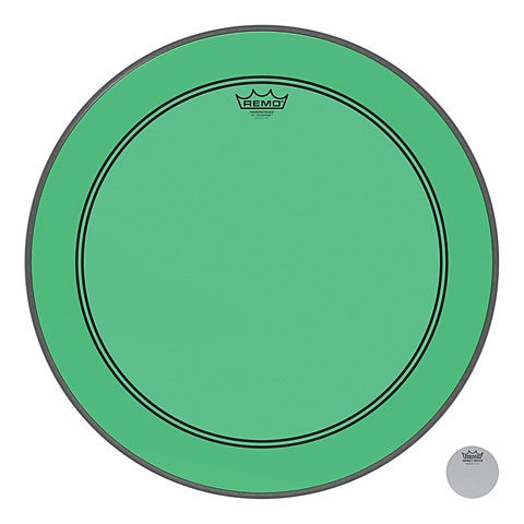 """Bass-Drum-Fell Remo Colortone Powerstroke 3 Clear 22"""" Green Bass Drum Head"""