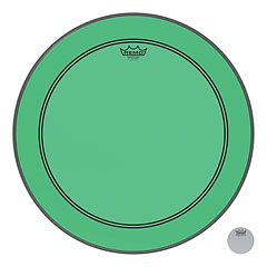 "Remo Colortone Powerstroke 3 Clear 22"" Green Bass Drum Head « Parches para bombos"