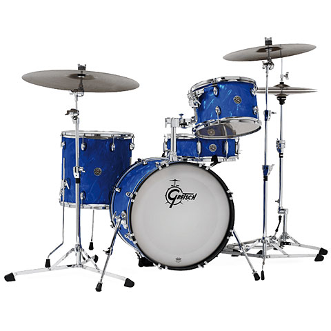 "Gretsch Drums Catalina Club Series 18"" Blue Satin Flame Drumset"