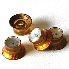 GuitarSlinger Gold Reflector Knob Set « Bouton potentiomètre