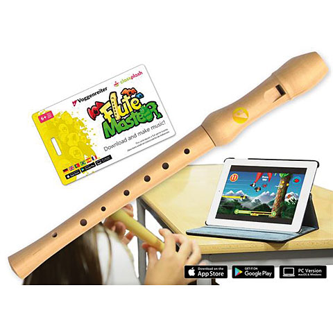 Sopran-Blockflöte Voggenreiter Flute Master (App) mit Blockflöte aus Bergahorn (d