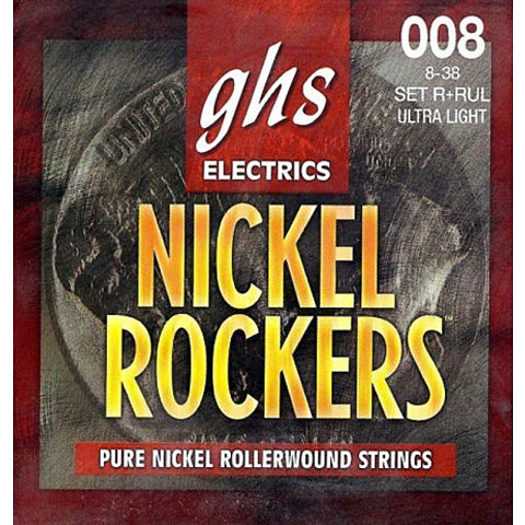 Cuerdas guitarra eléctr. GHS Nickel Rockers 008-038