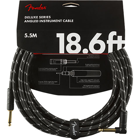 Câble pour instrument Fender Deluxe Series Black Tweed 5,5 m Angled