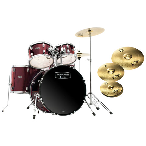 "Mapex Tornado 22"" Dark Red/Zildjian Bundle"