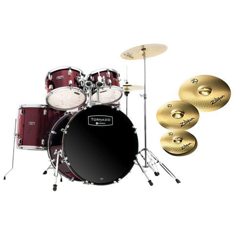 "Schlagzeug Mapex Tornado 20"" Dark Red/Zildjian Bundle"