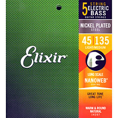 Elixir Nanoweb 5-string Light/Medium Long Scale .045-135 « Cuerdas bajo eléctrico